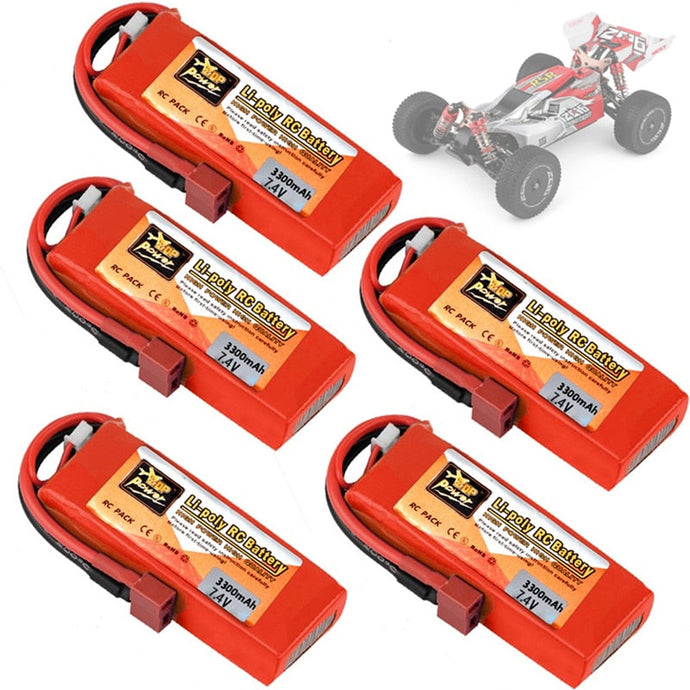 Original Wltoys 144001 car 2s 7.4 V 3300mAh Lipo battery T Plug for Wltoys 1/14 144001 RC car boat Lipo battery 1-5PCS