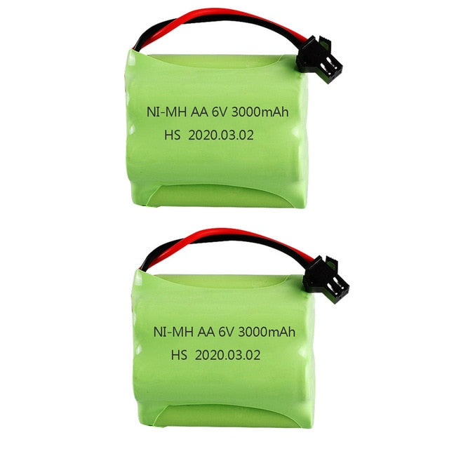 Battery 6V 3000mah SM Plug and USB Charger For RC toys Cars Tanks Robots