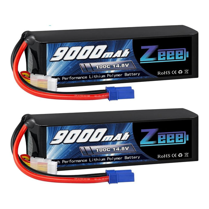 Battery 14.8V 4S 100C 9000mAh Battery EC5 Connector with Metal Plates