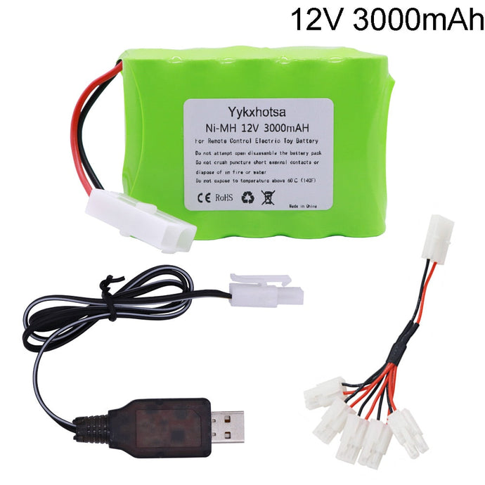 Battery 12V 3000mAh NI-MH battery Tamiya Plug with USB charger