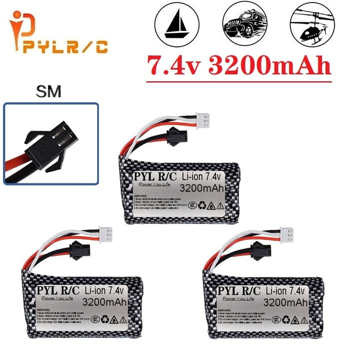 5Pcs (SM Plug) 7.4V 3200mAH 25C 18650 Li-ion Battery For RC Helicopter