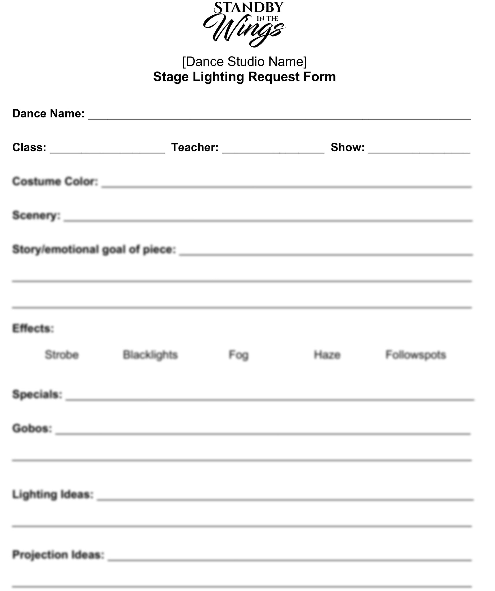 Lighting Form Template