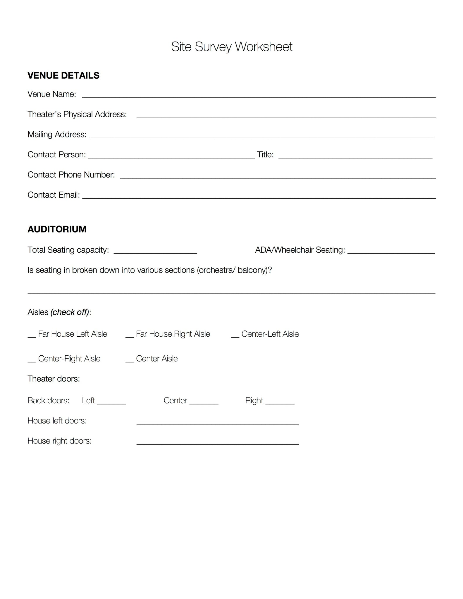 Site Survey Form Template