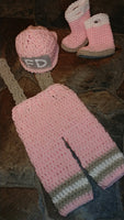 Firefighter pants set with boots in pink, grey and white