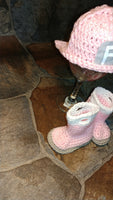 Pink crochet firefighter hat and boots set, 2 pc