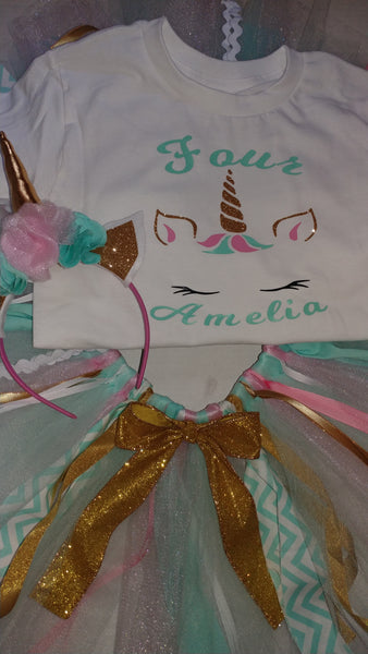 Unicorn birthday set, shirt, tutu, headband 3pc