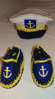 Captain hat and shoes, anchor hat, crochet