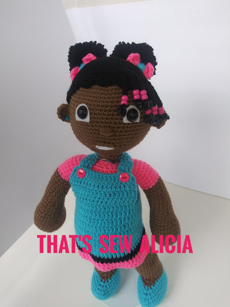 Tanina, crochet doll with puff ponytails