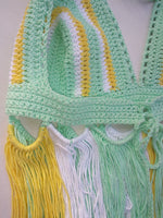 Crochet fringe halter top