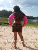 Camouflage crochet shorts and crop sweater