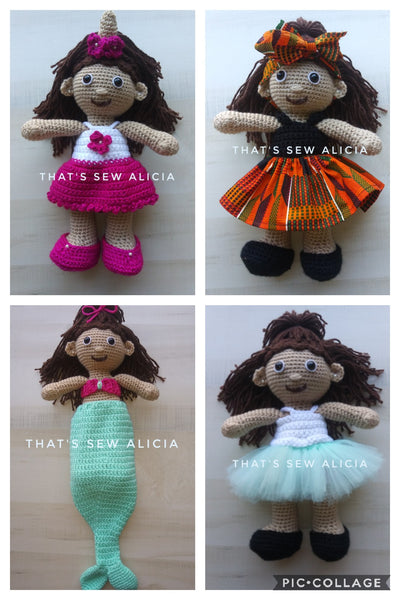 Crochet doll with 4 outfits