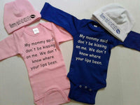 "Twins set ""My mommy said don't be kissing on me bodysuits"""