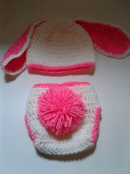 White and hot pink floppy ear bunny diaper set