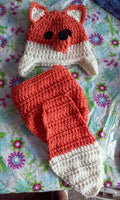 Fox newborn crochet diaper set