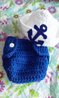 Blue and white sailor crochet diaper set