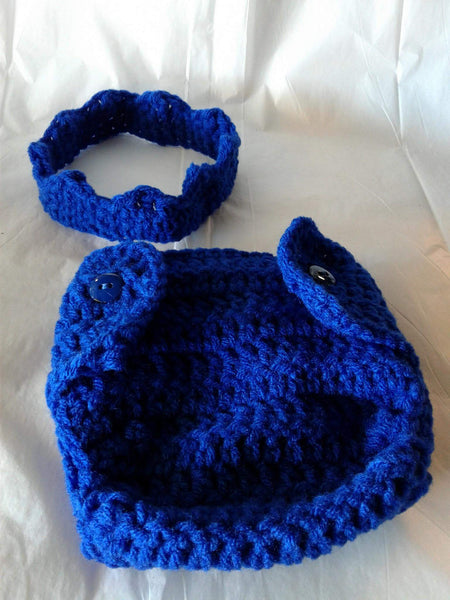 Crochet royal blue crown and matching diaper cover