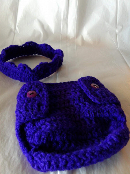 Crochet purple crown and matching diaper cover