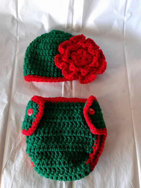 Crochet green and red flower diaper set