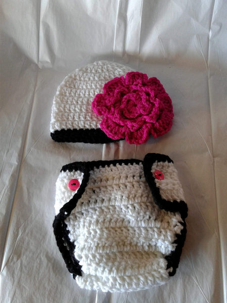Crochet white, black and hot pink flower diaper set