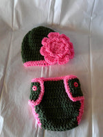 Crochet hunter green and hot pink flower diaper set