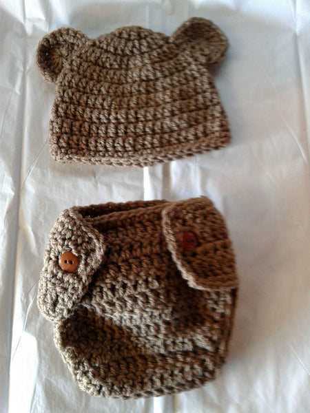 Crochet bear newborn diaper set