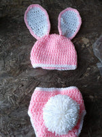 Pink and white floppy ear bunny diaper set