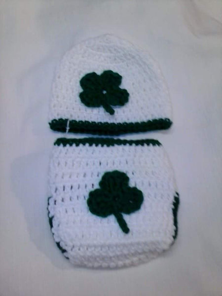 Crochet St.Patrick's day diaper set