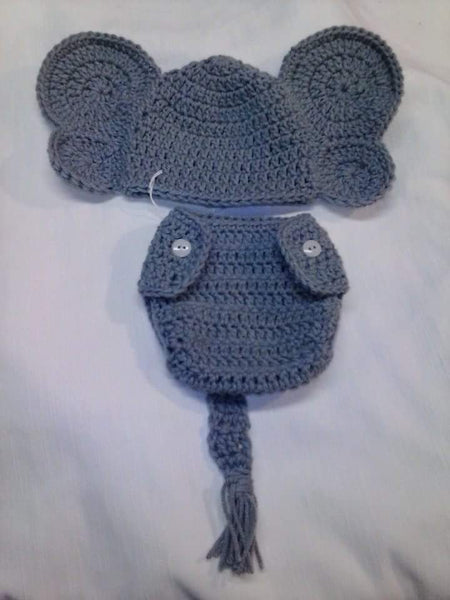 Crochet grey elephant diaper set