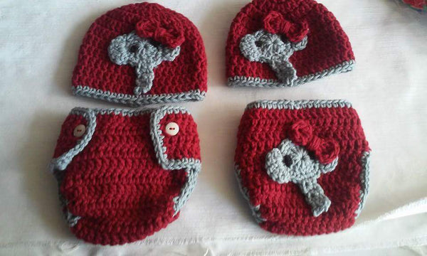 Crochet Alabama inspired diaper set with bows