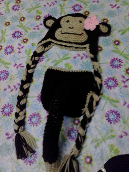 Monkey crochet diaper set