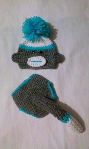 Sock monkey inspired crochet diaper set