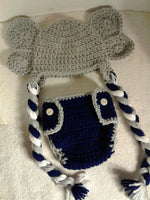 Crochet elephant diaper set