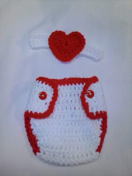 Crochet heart headband diaper set