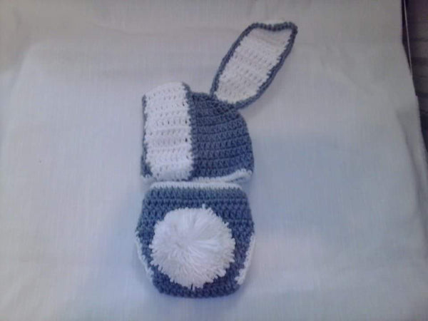 Bunny grey and white diaper set