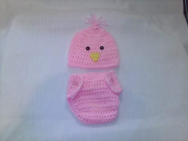 Crochet light pink chick diaper set