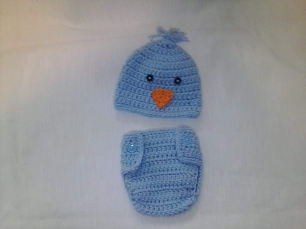 Crochet light blue chick diaper set