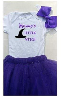 Mommy's little witch Halloween onesie and tutu set
