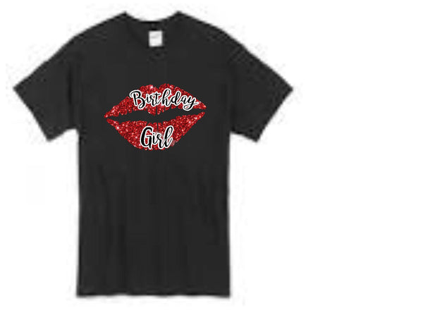 Birthday Girl red lips t-shirt