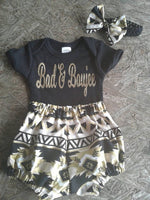 Bad and Boujee baby bodysuit and bloomers set