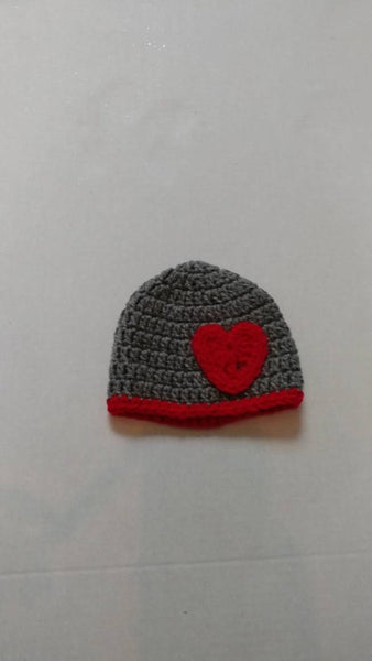 Grey Valentine's inspired crochet baby hat