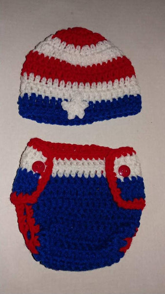 Red, white and blue crochet hat and diaper cover