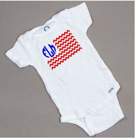 4th of July onesie, chevron flag