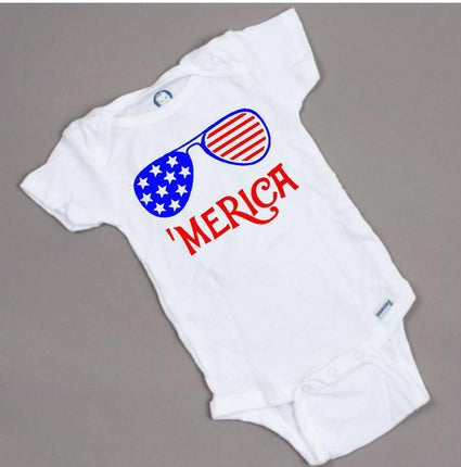 'Merica 4th of July baby onesie