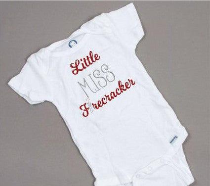 Little Miss firecracker, 4th of July onesie