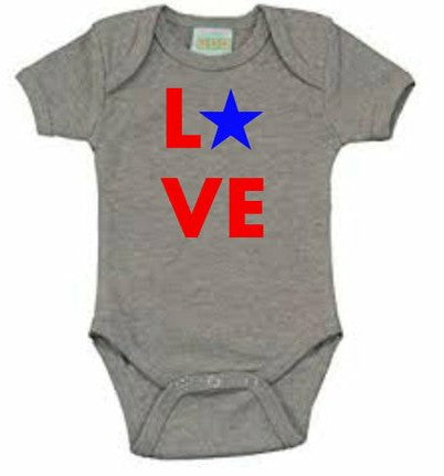 LOVE star 4th of July baby bodysuit