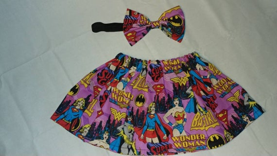 Superhero skirt and matching bow headband