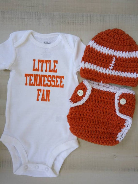 Little Tennessee fan baby bodysuit with matching football diaper set