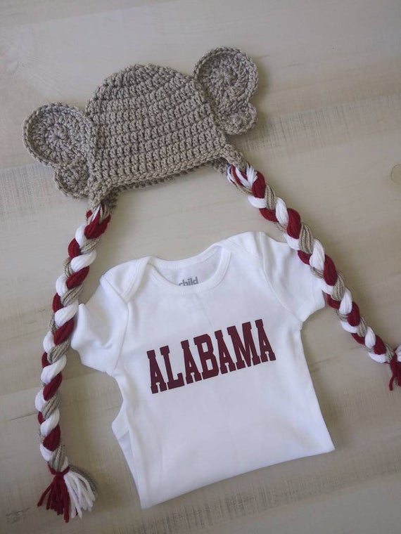 Alabama baby bodysuit and crochet elephant hat