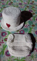 Valentine's crochet top hat diaper set