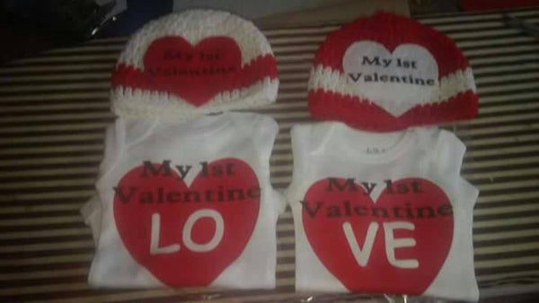 My 1st Valentine's day baby bodysuit and matching crochet hats